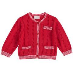 Cardigan copii Chicco, tricotat, rosu, 80