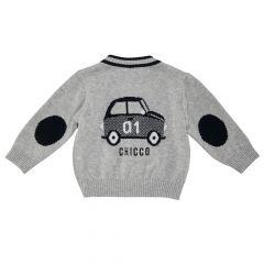 Cardigan tricotat copii Chicco, baieti, gri cu bleumarin, 68