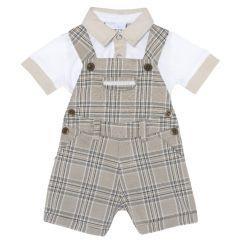 Costum bebelusi Chicco, salopeta si tricou, alb cu dungi, 68