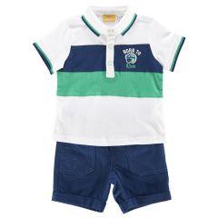Costum tricou polo + pantalon scurt copii Chicco, baieti, alb cu albastru, 104