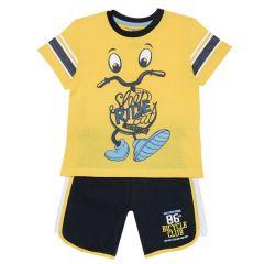 Costumas baietei Chicco, tricou si pantaloni, galben cu bleumarin, 128