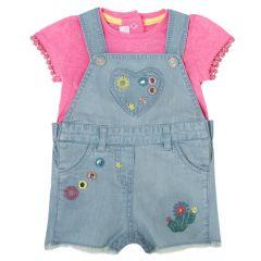 Costumas bebe Chicco, salopeta si tricou, fetite, denim, 62