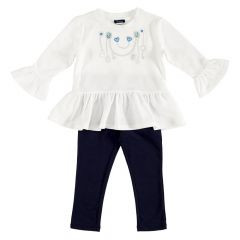 Costumas bebe Chicco, tricou maneca lunga si colanti, albastru, 116