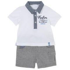 Costumas bebe Chicco, tricou si pantaloni, baieti, alb cu gri, 56