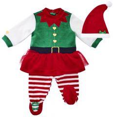 Costumas copii Chicco, pentru Craciun, rochie, colanti si scufie, verde, 56