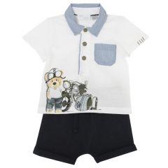 Costumas copii Chicco, tricou si pantaloni, alb cu albastru, 80