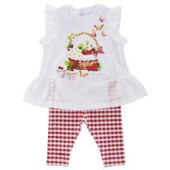 Costumas doua piese copii Chicco, tricou si colanti, fetite, alb cu rosu, 86