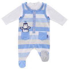 Costumas doua piese bebelusi Chicco, salopeta si body, alb cu albastru, 56