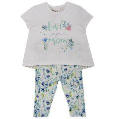 Costumas doua piese Chicco, tricou si colanti, alb cu verde si albastru, 62