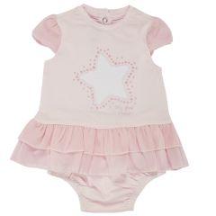 Costumas doua piese copii Chicco, rochita maneca scurta si chilot, fetite, roz, 62