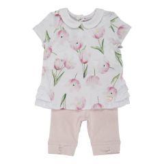 Costumas doua piese copii Chicco : tricou maneca scurta si colant trei-sferturi, fetite, alb cu roz, 62