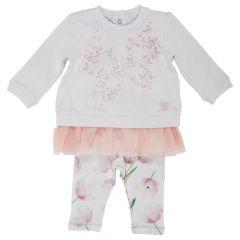 Costumas pentru copii Chicco, tricou maneca lunga si colant, fetite, alb cu roz, 56