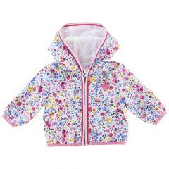 Jacheta impermeabila copii Chicco, alb cu flori multicolore, 62