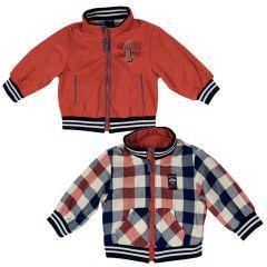 Jacheta reversibila copii Chicco, baieti, rosu cu carouri, 56