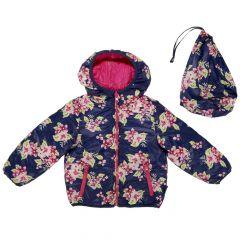 Jacheta reversibila copii Chicco, Thermore, bleumarin cu flori si ciclamen, 104