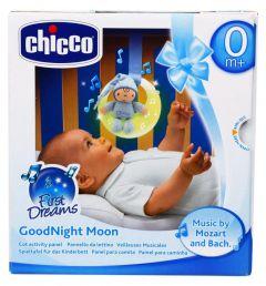 Jucarie Chicco pentru patut de lemn, Noapte buna, luna!, bleu, 0luni+