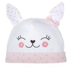 Caciulita fetite, Chicco, alb cu roz, 04004