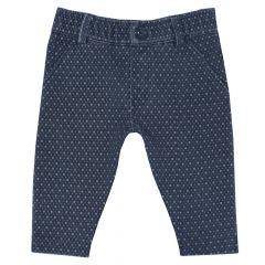 Pantalon lung baietei Chicco, bleumarin cu picouri gri, 74