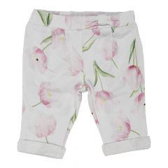 Pantalon lung copii Chicco, fetite, alb cu lalele, 24693