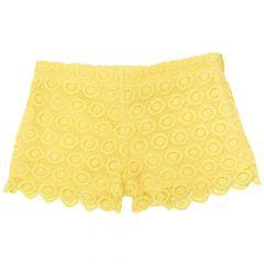 Pantalon scurt copii Chicci, fetite, galben dantelat, 116