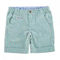 Pantalon scurt copii Chicco, alb cu dungi bleumarin si verzi, 128