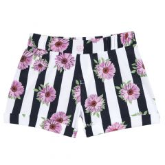 Pantalon scurt copii Chicco, manseta elastic, alb cu negru, 128