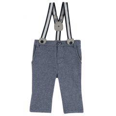 Pantalon lung copii Chicco, bretele, albastru inchis, 68