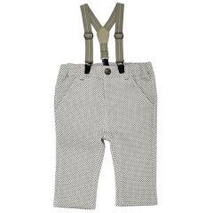 Pantaloni lungi cu bretele, copii Chicco, baieti, alb cu gri, 56