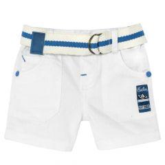 Pantaloni scurti Chicco, baietei, alb cu albastru, 68