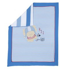 Patura landou Chicco, jerse elastic, alb cu bleu, 99