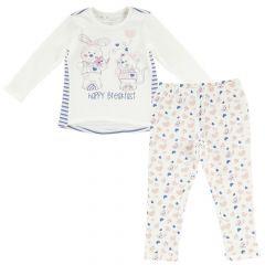 Pijama copii Chicco, maneca lunga, alb, 122