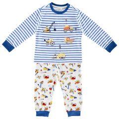 Pijama copii Chicco, maneca lunga, baieti, alb cu albastru, 104