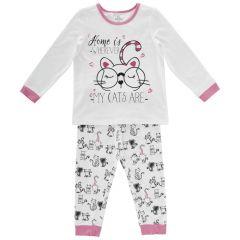 Pijama copii Chicco, maneca lunga, fetite, alb cu roz, 110