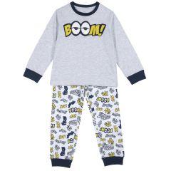 Pijama copii Chicco, maneca lunga, gri deschis, 98