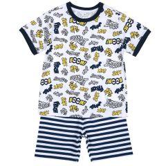 Pijama copii Chicco, maneca scurta, alb, 128