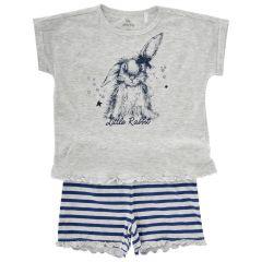 Pijama copii Chicco, maneca scurta, gri deschis, 128