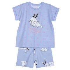 Pijama copii Chicco, maneca scurta, turcoaz cu alb, 92