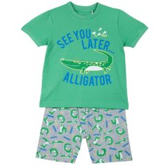 Pijama copii Chicco, tricou si pantalon, verde, 110
