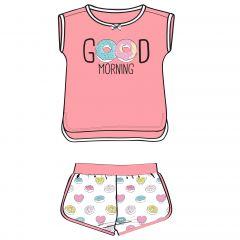 Pijama copii, maneca scurta, alb cu roz, 98