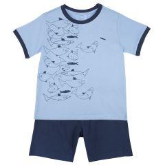Pijama copii, maneca scurta, turcoaz, 104