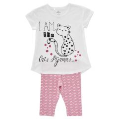Pijama maneca scurta copii Chicco, fetite, alb cu roz, 116
