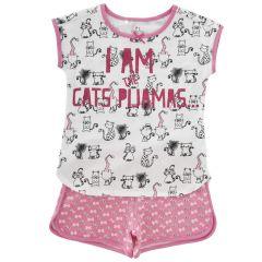 Pijama copii Chicco, maneca scurta, roz, 128