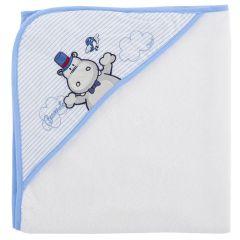 Prosop baie bebelusi Chicco, cu colt-gluga, alb cu bleu, 99