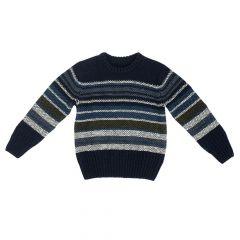 Pulover tricotat Chicco, albastru cu dungi, amestec lana, 64966