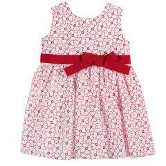 Rochie copii Chicco, fara maneci, alb cu rosu, 92