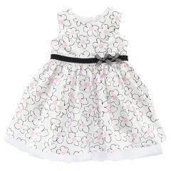 Rochie eleganta copii Chicco, alb cu flori negre si roz, 03263