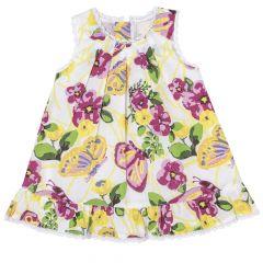 Rochie fara maneci bebelusi, Chicco, alb cu flori, 93818