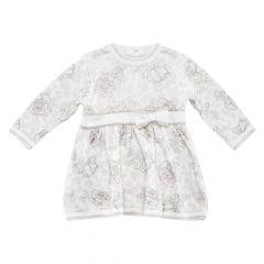 Rochie fetite Chicco, maneca lunga, alb cu model, 74