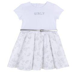 Rochie fetite Chicco, maneca scurta, curea, alb cu model, 110