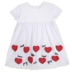 Rochie copii Chicco, maneca scurta, alb cu inimioare, 98